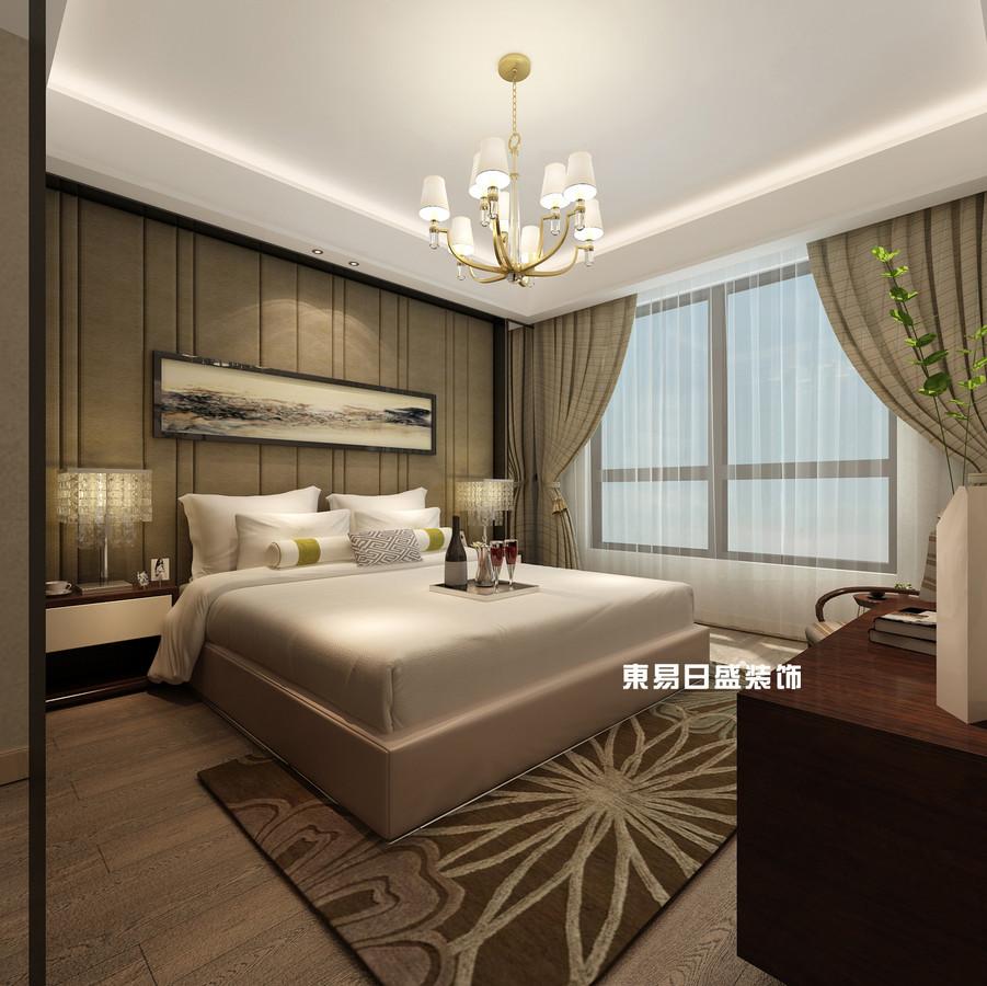 碧园印象桂林53#样板房B户型两房两厅80㎡现代轻奢装修风格:主卧装修设计效果图