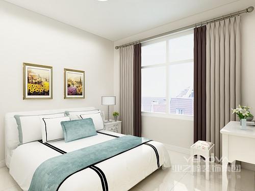卧室线条简单,白色粉刷的墙面让空间多了份纯静,白色床品因为蓝色毛毯多了些轻快,搭配白色简欧家具,构成大气。