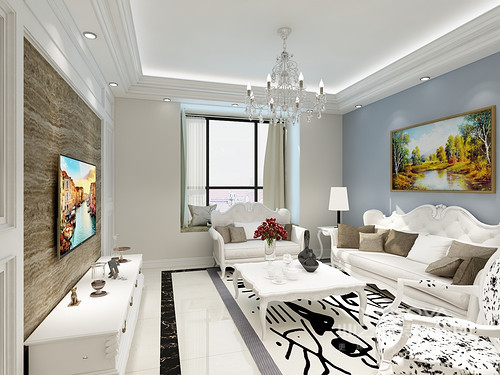 客厅的吊顶以层叠感的设计,让空间感厚重了不少,米色和蓝色漆粉刷出墙面层次,褐色大理石背景墙与之平衡出空间色彩;白色简欧家具搭配金属水晶灯,让空间满是欧式华丽