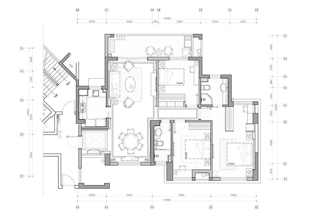 碧园印象桂林53#样板房A户型三房两厅120㎡平面布置图