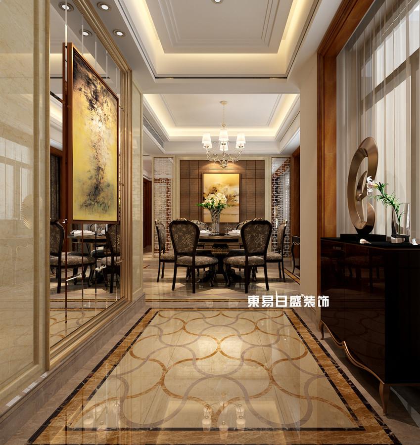 碧園印象桂林53#樣板房A戶型三房兩廳120㎡現代簡歐裝修風格:入戶裝修設計效果圖