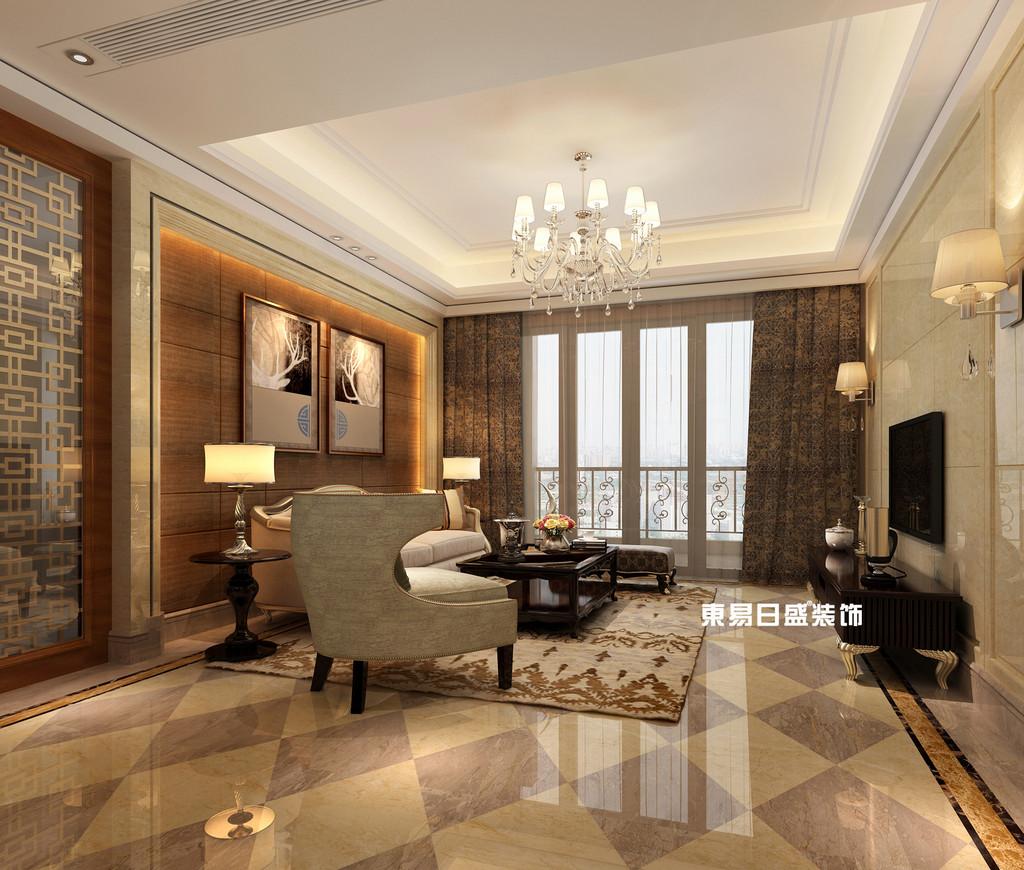 碧園印象桂林53#樣板房A戶型三房兩廳120㎡現代簡歐裝修風格:客廳飄窗裝修設計效果圖