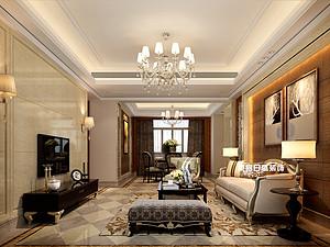 碧園印象桂林53#樣板房A戶型三房兩廳120㎡現代簡歐裝修風格