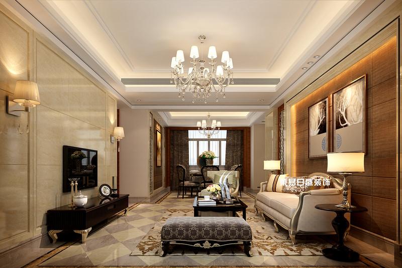 碧園印象桂林53#樣板房A戶型三房兩廳120㎡現代簡歐裝修風格:客廳裝修設計效果圖