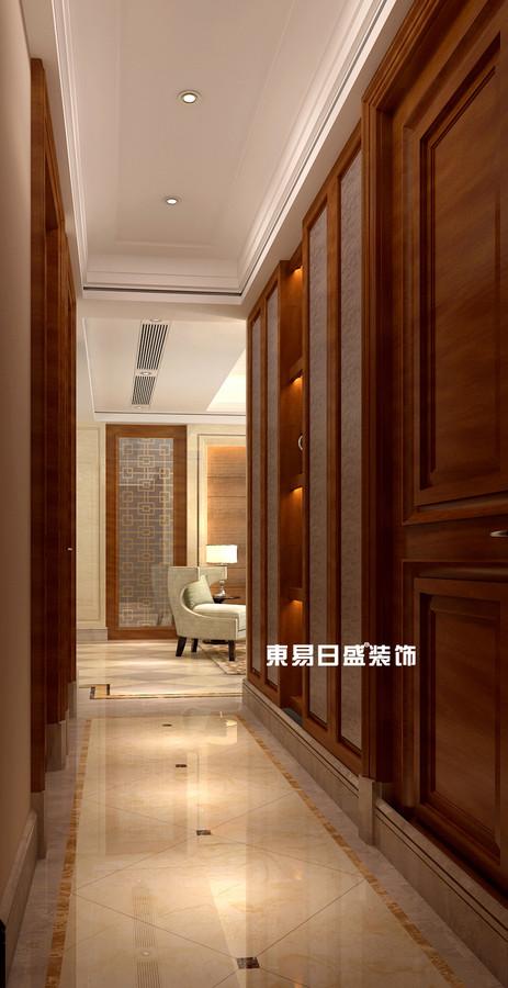 碧园印象桂林53#样板房A户型三房两厅120㎡现代简欧装修风格:过道装修设计效果图