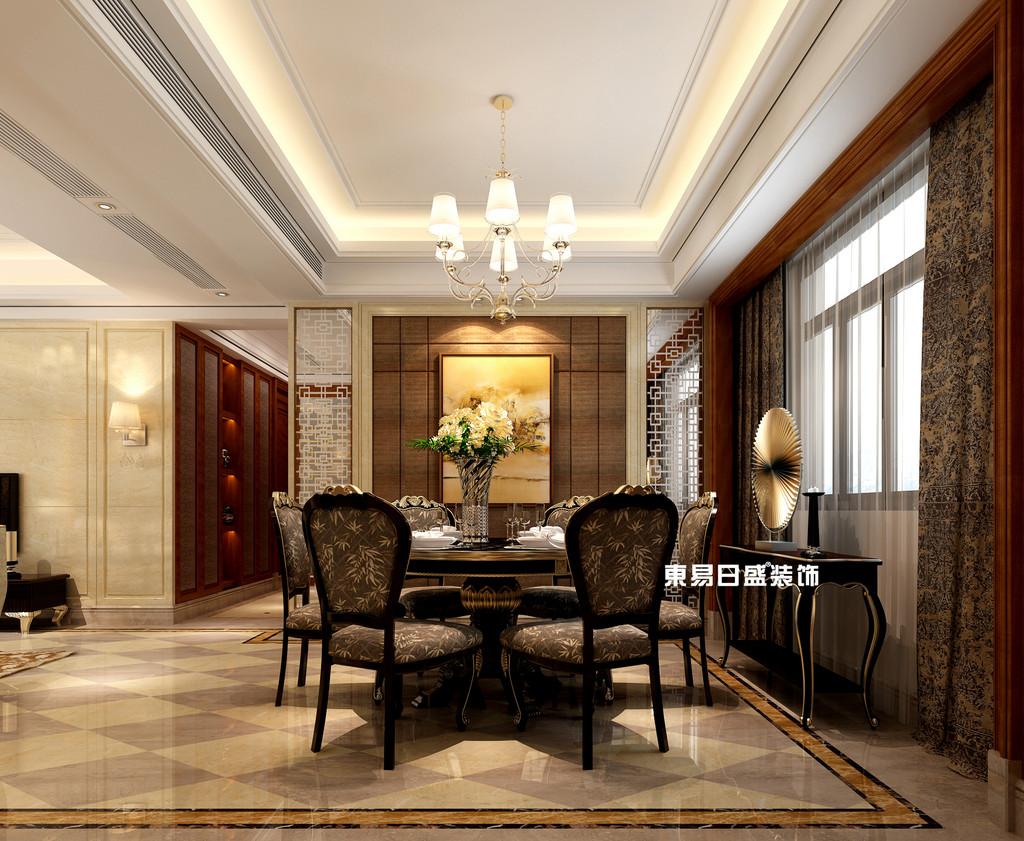 碧園印象桂林53#樣板房A戶型三房兩廳120㎡現代簡歐裝修風格:餐廳裝修設計效果圖