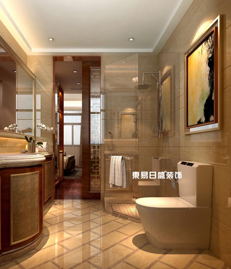 碧园印象桂林53#样板房A户型三房两厅120㎡现代简欧装修风格:主卫生间装修设计效果图