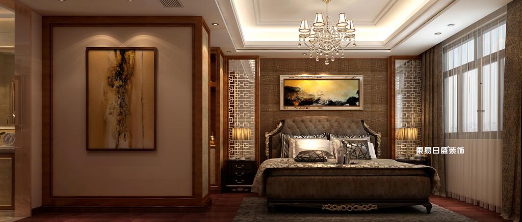 碧園印象桂林53#樣板房A戶型三房兩廳120㎡現代簡歐裝修風格:主臥室裝修設計效果圖