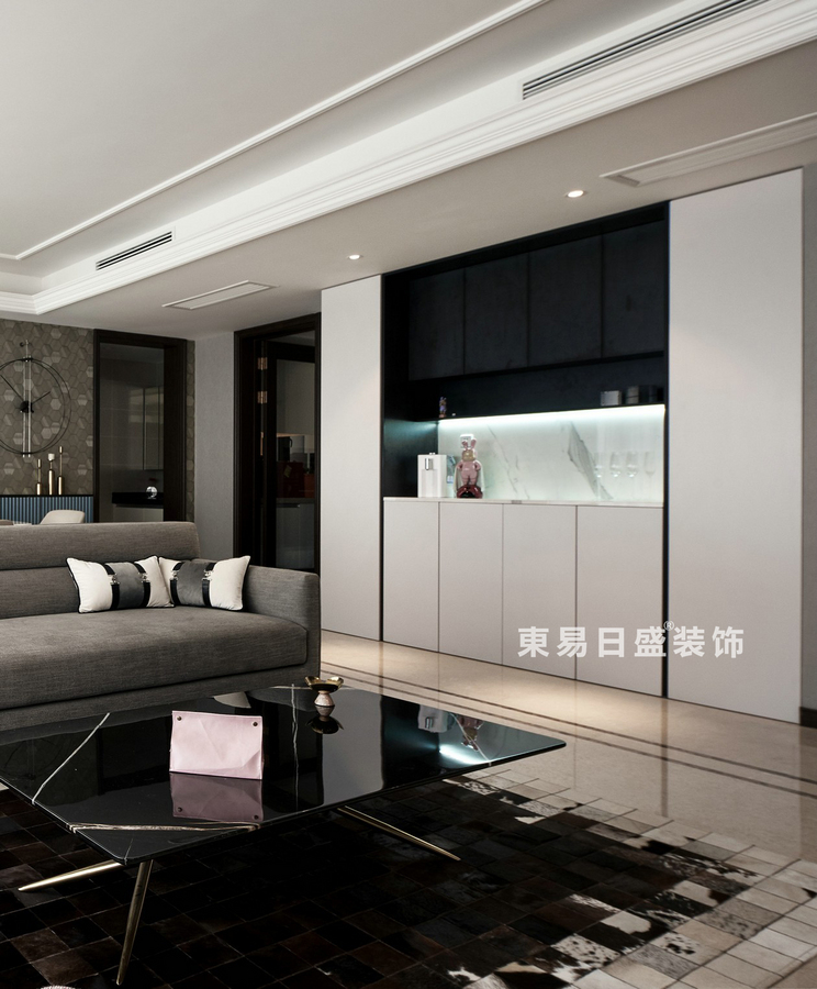 桂林萬達城三居室125㎡現代風格:客廳吧臺裝修設計效果圖