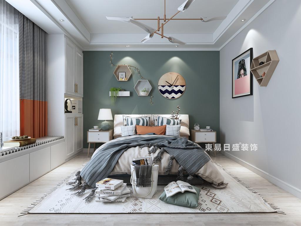 桂林四室三廳兩衛157㎡現代風格:次臥室背景墻裝修設計效果圖