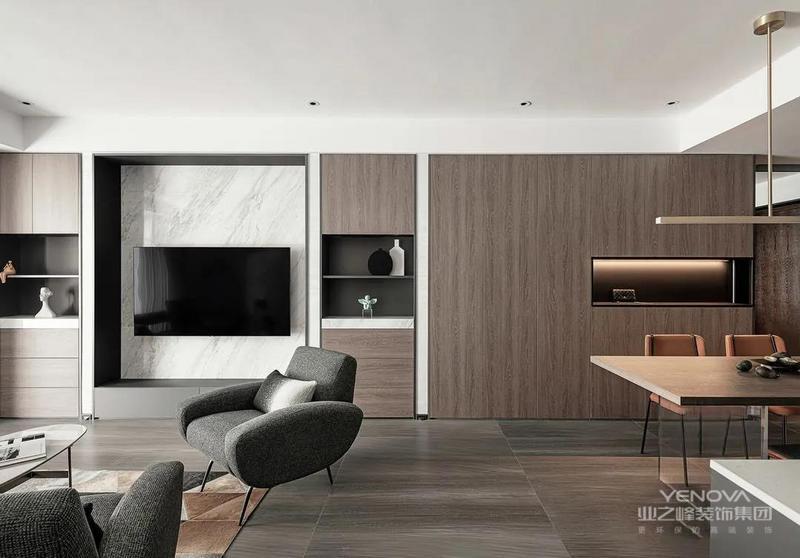 电视墙的话以大理石为主,结合两侧有藏有露的储物柜,不仅方便客厅收纳,整体效果也更有层次感