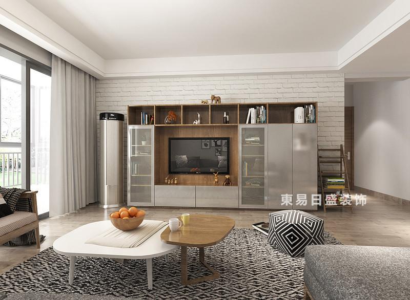 桂林冠泰?城國二居室145㎡簡約風格:客廳裝修設計效果圖,空間結構規整,白色文化磚鋪貼在電視墻,與原木地板構成自然田園的清派;實木組裝柜增加了收納功能,與客廳的實木家具呼應成趣,而黑白色調的坐墩和地毯給予空間層次和黑白時髦。