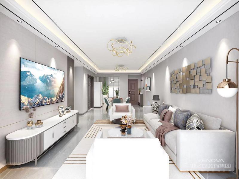 轻奢风格的空间以金属,用色彩的纯度传递细腻的质感。造型简洁,线条流畅的家具组合搭配,营造出稳定、协调、温馨的空间感受