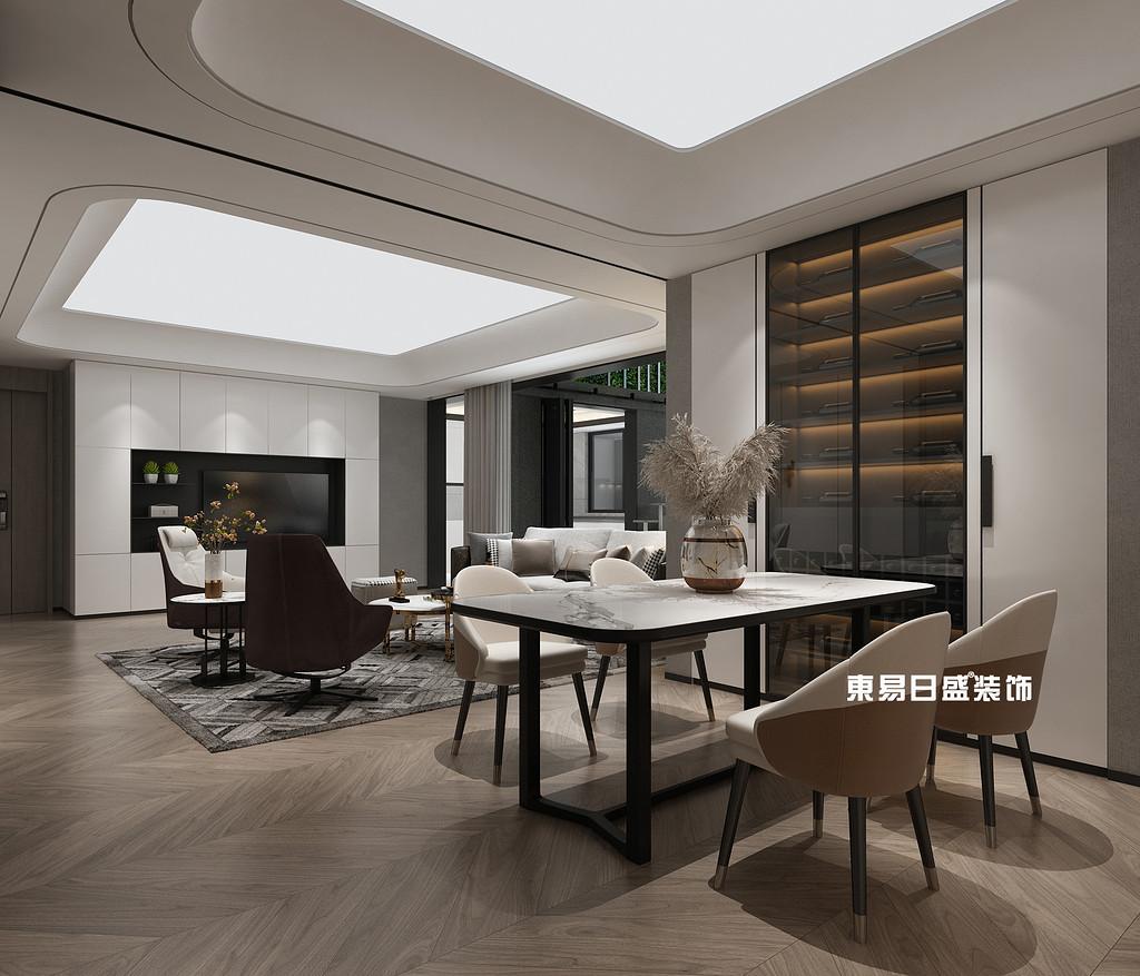 新安厦•西宸源著22栋B1户型5房2厅190㎡中空花园轻奢风格:样板间餐厅装修设计效果图