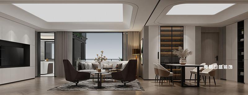 新安厦•西宸源著22栋B1户型5房2厅190㎡中空花园轻奢风格:样板间客餐厅装修设计效果图