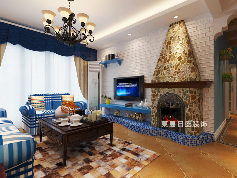 桂林彰泰•睿城四居室130㎡地中海风格:客厅电视墙装修设计效果图