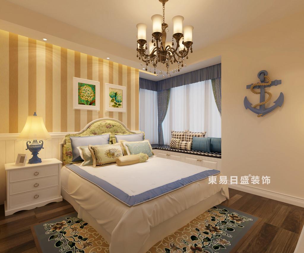 桂林彰泰•睿城四居室130㎡地中海风格:主卧室装修设计效果图
