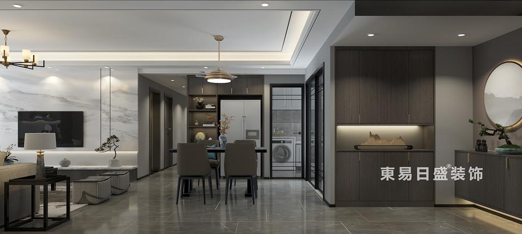 桂林彰泰?橘子郡三房兩廳120㎡新中式風格:客餐廳裝修設計效果圖
