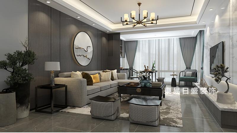 桂林彰泰•橘子郡三房两厅120㎡新中式风格:客厅装修设计效果图