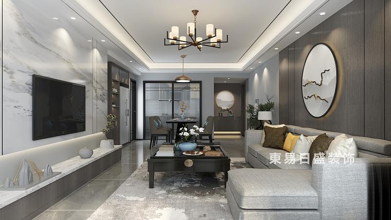 桂林彰泰•橘子郡三房两厅120㎡新中式风格:客厅装修设计效果图(侧视)
