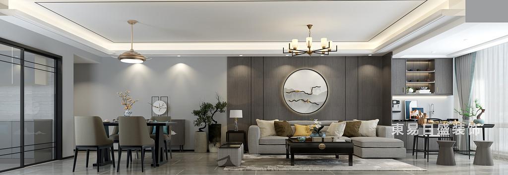 桂林彰泰•橘子郡三房两厅120㎡新中式风格:客餐厅装修设计效果图