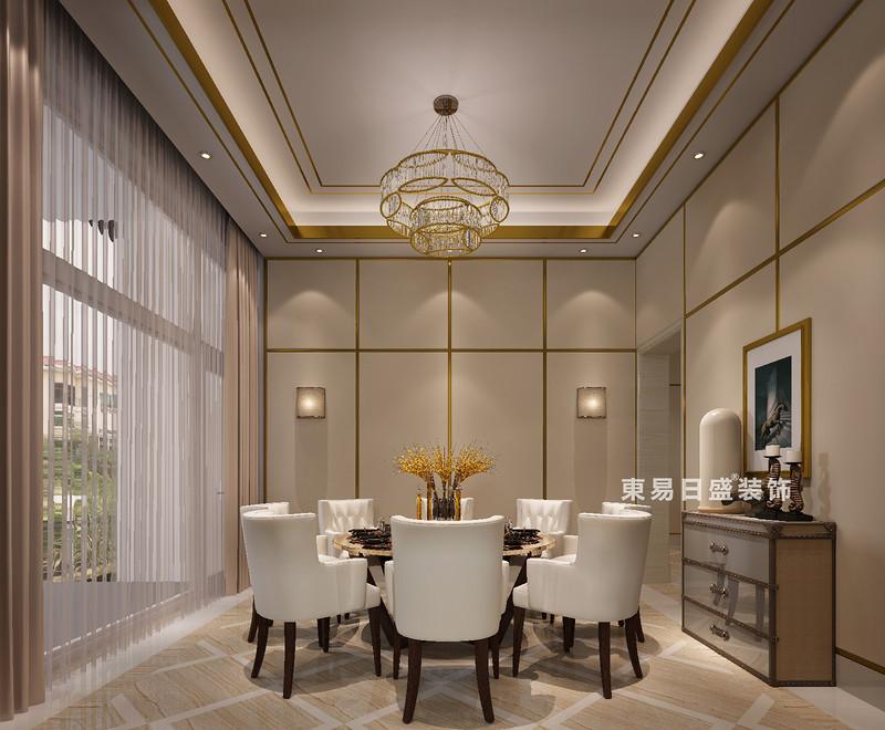 桂林冠城•青秀庭院别墅550㎡现代简约风格:餐厅装修设计效果图