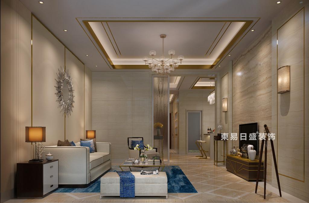 桂林冠城?青秀庭院別墅550㎡現代簡約風格:客廳裝修設計效果圖