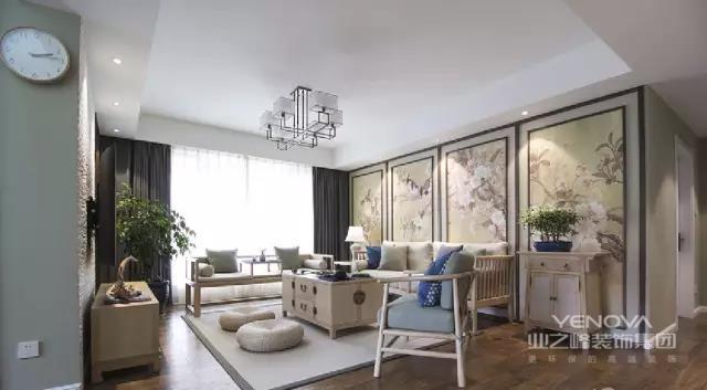 这款现代中式装修选择了较为深沉低调的颜色,家具多带有自然原木气息。