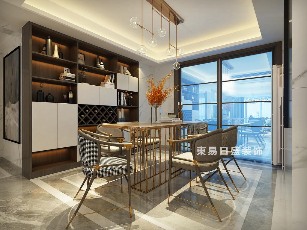 桂林彰泰•名都四居室140㎡新中式风格:餐厅酒柜装修设计效果图