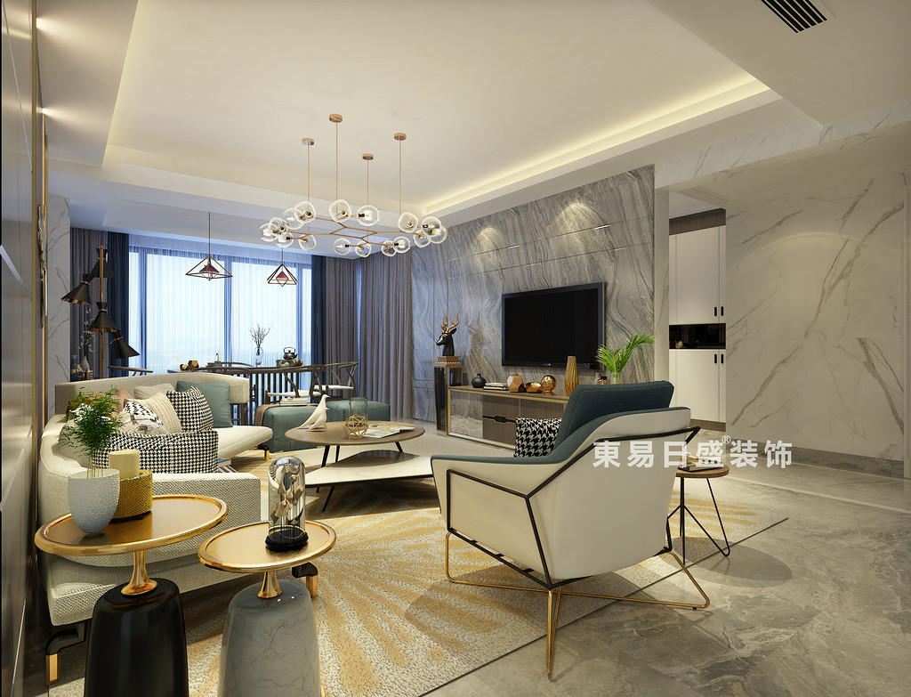 桂林彰泰•名都四居室140㎡新中式风格:客厅电视墙装修设计效果图