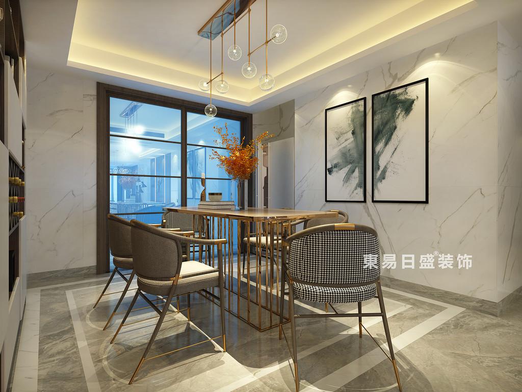 桂林彰泰?名都四居室140㎡新中式風格:餐廳裝修設計效果圖