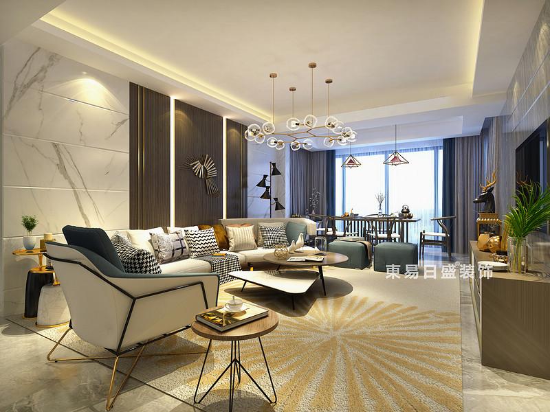 桂林彰泰?名都四居室140㎡新中式風格:客廳裝修設計效果圖