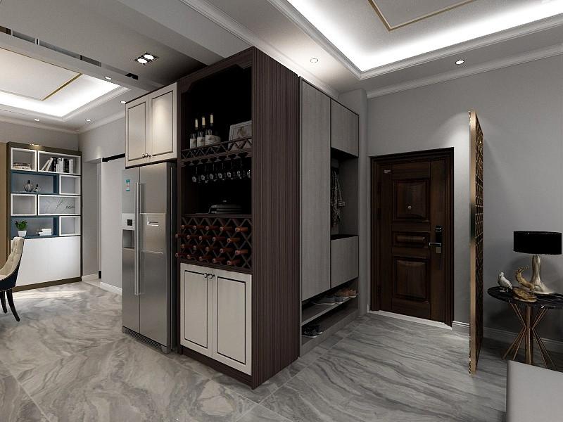 厨房最里侧隔出了一个独立的洗衣房,这点咱们得根据实际面积大小来!