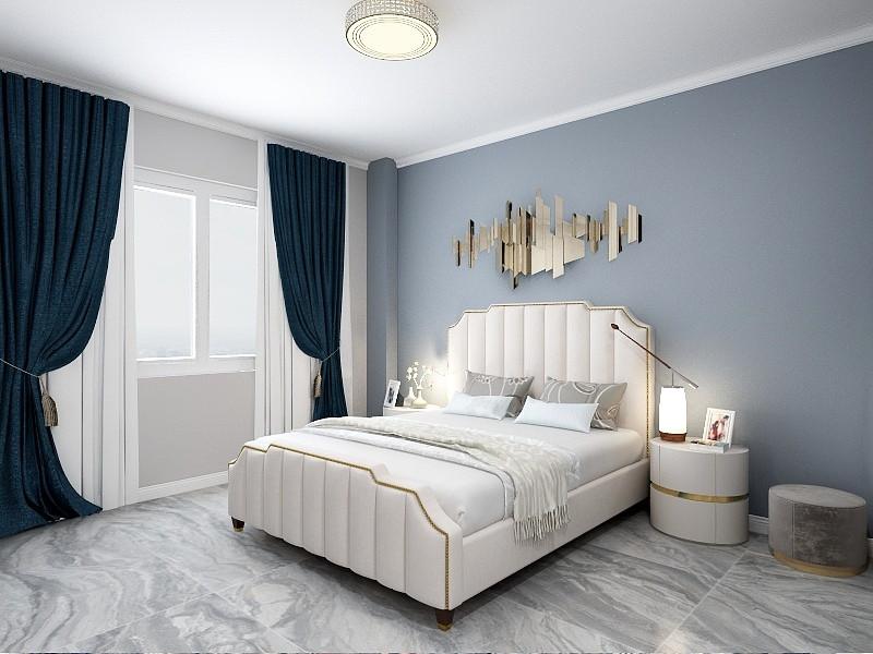主卧室的床头背景墙铺贴了植物款的壁纸,搭配软包的皮质床头靠背和豹纹床品、复古的床头柜,营造出了一个独特美感的睡眠空间。