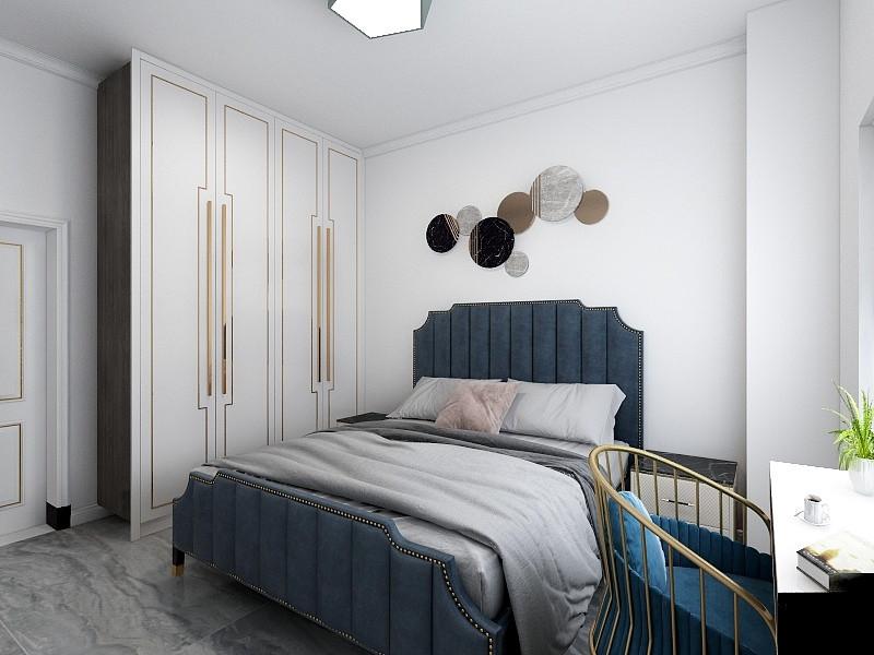 衣柜是定制的,白色柜身搭配黑色拉手,简约又时尚,与门的颜色也是互相呼应,十分美观协调。