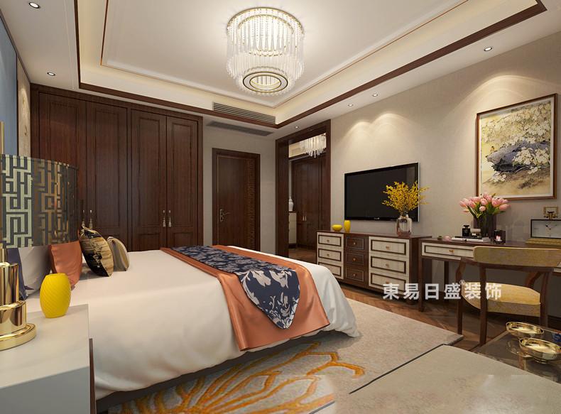 桂林彰泰?春天三居室150㎡新中式風格:臥室裝修設計效果圖