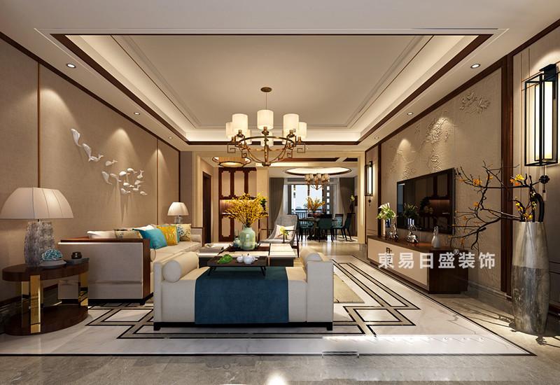 桂林彰泰?春天三居室150㎡新中式風格:客廳裝修設計效果圖