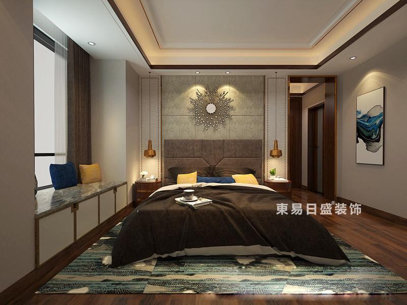 桂林彰泰•春天三居室150㎡新中式风格:次卧室装修设计效果图