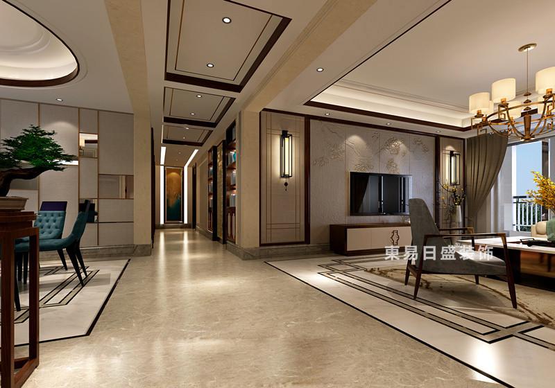 桂林彰泰•春天三居室150㎡新中式风格:客厅过道装修设计效果图