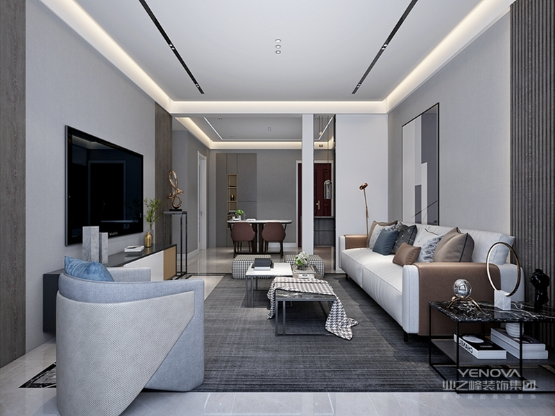 设计师将高级灰作为全屋的主色调,当然,为了避免大幅度灰色带来的单调乏味,也加入了些其他色彩,如蓝色,黄色等,起到了很好的点亮作用。整体协调统一,打造了一个现代简约又舒适优雅的家!