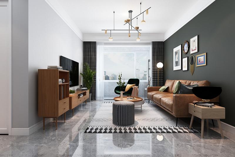 沙发背景墙做了一个深色调整,提升了整体层次感以及时尚感。