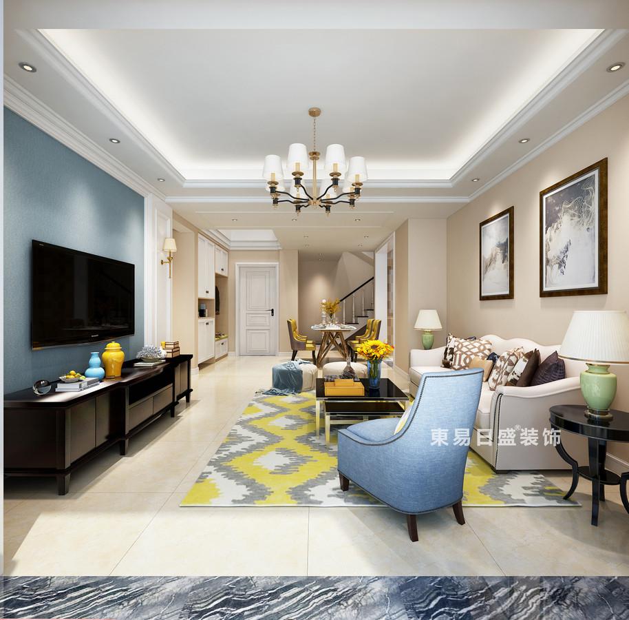 桂林复式楼120㎡美式风格:客厅装修设计效果图
