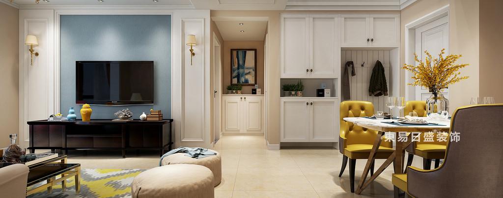 桂林复式楼120㎡美式风格:客餐厅装修设计效果图