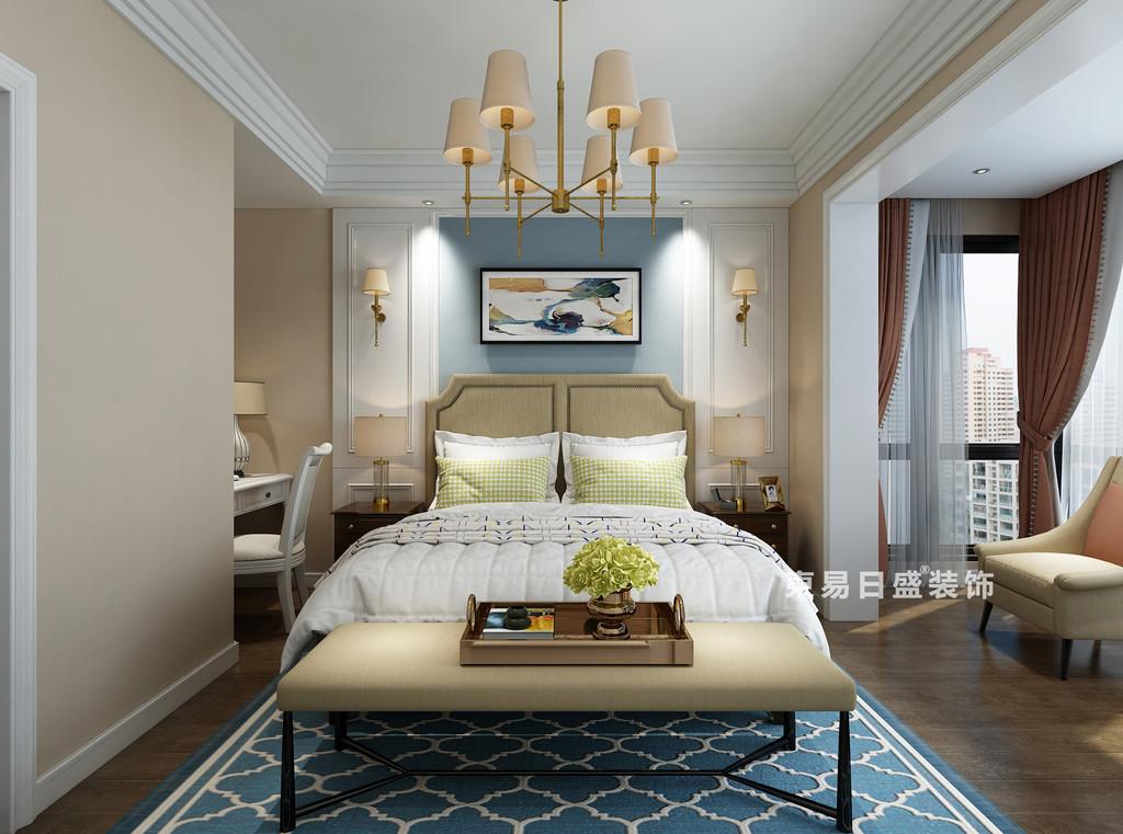 桂林复式楼120㎡美式风格:主卧室装修设计效果图