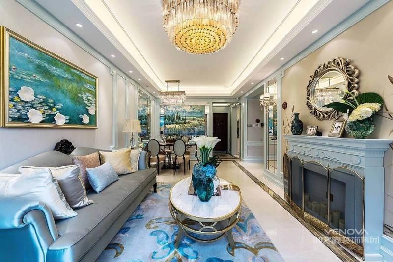 法式装修设计细致入微,精益求精,制作工艺精细、精美,体现了传统艺术文化,法式元素装修精良,细节雕刻,线条和法式柱廊设计。