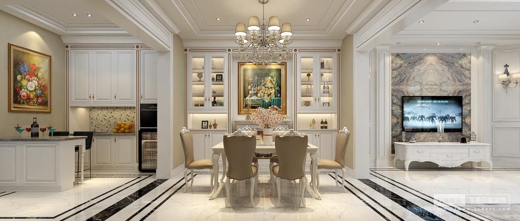 在别墅设计中削弱了欧式传统设计中复杂的雕花形态,明快的色相对比,