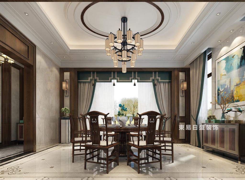 桂林自建别墅1600㎡中式和欧式混搭风格:餐厅装修设计效果图