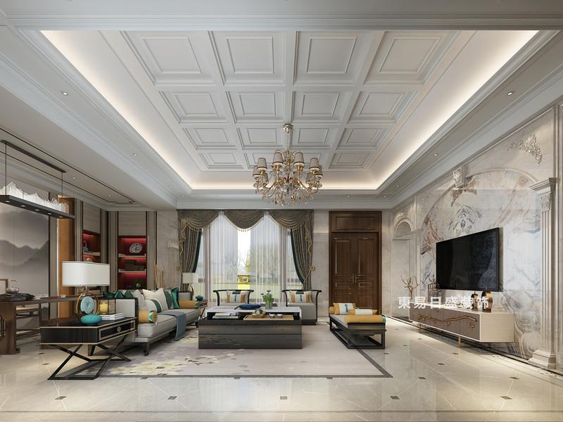桂林自建别墅1600㎡中式和欧式混搭风格:客厅装修设计效果图