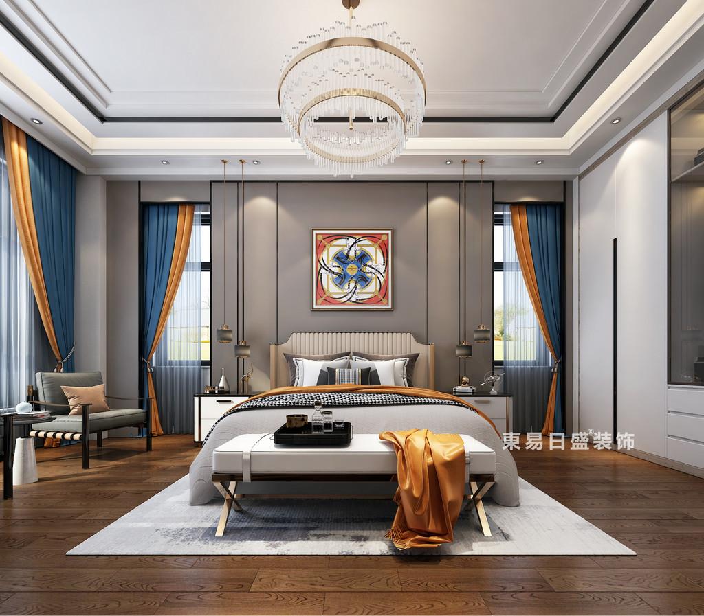 桂林自建别墅1600㎡中式和欧式混搭风格:儿子房装修设计效果图