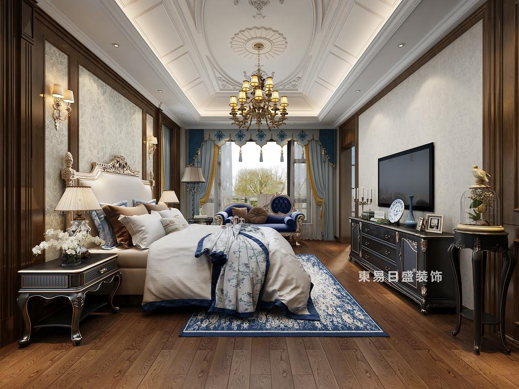 桂林自建别墅1600㎡中式和欧式混搭风格:主卧室装修设计效果图